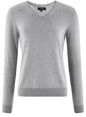 oodji Ultra Herren Pullover Basic mit V-Ausschnitt Grau (2300M)