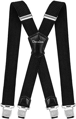 Decalen Hosenträger für Herren Breit 4 cm mit sehr Starken 4 Metall Clip Lang Einheitsgröße für Männer und Damen Einstellbar und Elastisch X Style (Schwarz 2) -