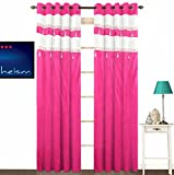 Fabutex Pink Double Fabric Laces and Diamond Embellishment Polyester 4 x 7 Feet Door Curtain Pack of 2