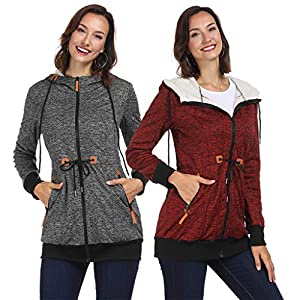 TianWlio Jacken Damen Winter Volk Brauch Mit Kapuze Leinen Druckknöpfe Taschen Langer Mantel Parka Outwear Parka Mäntel Herbst Winter Warme Jacken Strickjacken Grau rot S M L XL