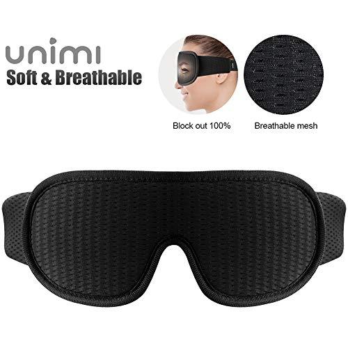 Schlafmaske, Unimi 3D-Schlafmaske mit atmungsaktiven Lüftungsporen, 100{06c6526d738ed132b78fc375f42c8781d9ba27d5ed385a1c7e8d25c6f78ffb87} lichtblockierend, Schlafbrille für Frauen und Herren mit verstellbarem Gurt, Augenmaske und Augenbinde für Reisen/Yoga