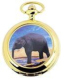 Reloj de bolsillo Blanco Dorado Elefante Analógica Metal Cuarzo