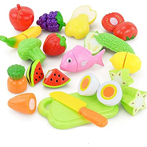 Kitchen Playsets Toys, Bestow 16PCS Children Kid Pretend Play Toys Cutting Fruit Vegetable Food Educational Toy For Gifts (random)