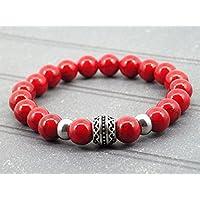 Bracciale uomo da Oriental Sun in acciaio e rosso turchese