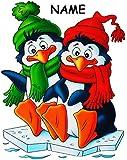 alles-meine.de GmbH 3 Stück _ XL Fensterbilder -  lustige Pinguine im Schnee - Winter & Weihnacht..