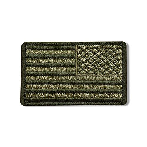 "RIGHT ARM FLAG WOOD, Iron-On / Saw-On Rayon PATCH - 3"" x 2"", Heat Sealed Backing"