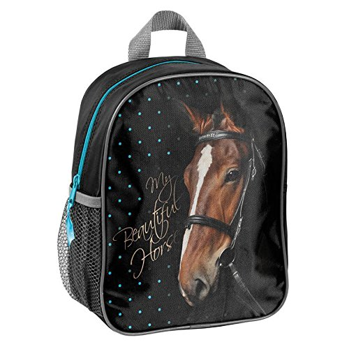 Ragusa-Trade Pferde Fan Rucksack Kinderrucksack für Jungen und Mädchen (17) mit Hauptfach und Getränkenetz, 28 x 22 10 cm, schwarz/blau