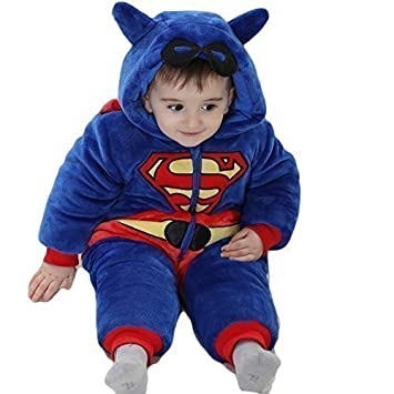 infant toddler boys super baby superhero hooded snowsuit onesie with mask detail fancy dress costume outfit age 9 months 5 years 34 years 100cms