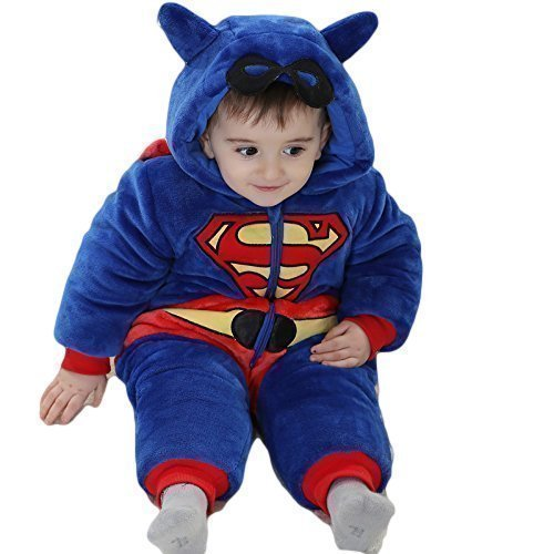 Baby Kleinkind Superman Jungen Superheld Mit kapuze Onesie mit Maske Detail Kostüm Kleid Outfit 9 jahre monate - 5 jahre - Blau, 12-18 months (90cms)