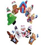 TwinTraders TOYMYTOY Christmas Finger Puppets Xmas Characters Art Finger Toys Story Teller Gift For Baby Kids - 10 Pieces
