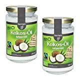 2 x borchers Bio-Fairtrade Kokosöl Nativ | Naturbelassen | Erste Kaltpressung | Zum Kochen, Braten & Backen | Vegetarisch & Vegan | 200ml.