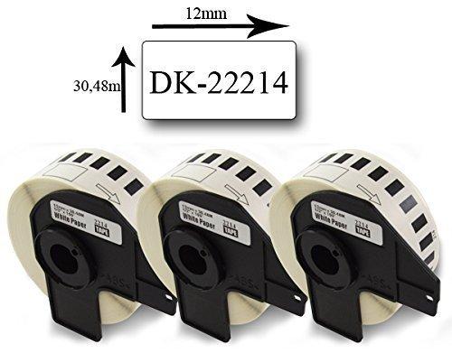 Preisvergleich Produktbild Bubprint 3 Etiketten kompatibel für Brother DK-22214 für P-Touch QL1050 QL1060N QL500 QL500BW QL550 QL560 QL570 QL580N QL700 QL710W QL720NW QL810W