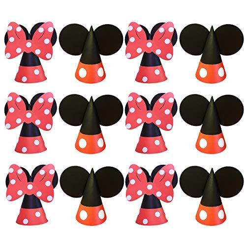 Jollyboom Mickey und Minnie Mouse Geburtstag Hüte Partyzubehör für Jungen und Mädchen 1. 2. 3. Mickey und Minnie Mouse Partydekorationen 12er Pack (Mickey Hut Mouse)