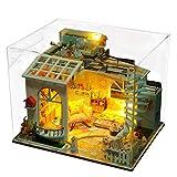ToDIDAF Hölzernes Puppenhaus 3D Holz DIY Miniaturhaus Möbel LED Haus Puzzle Geschenke für Kinder Geburtstag Valentinstag für Schlafzimmer Zuhause Garten Dekor - Moonlight Dach (with Dust Cover)