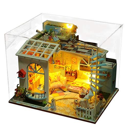 ToDIDAF Hölzernes Puppenhaus 3D Holz DIY Miniaturhaus Möbel LED Haus Puzzle Geschenke für Kinder Geburtstag Valentinstag für Schlafzimmer Zuhause Garten Dekor - Moonlight Dach (with Dust Cover) -