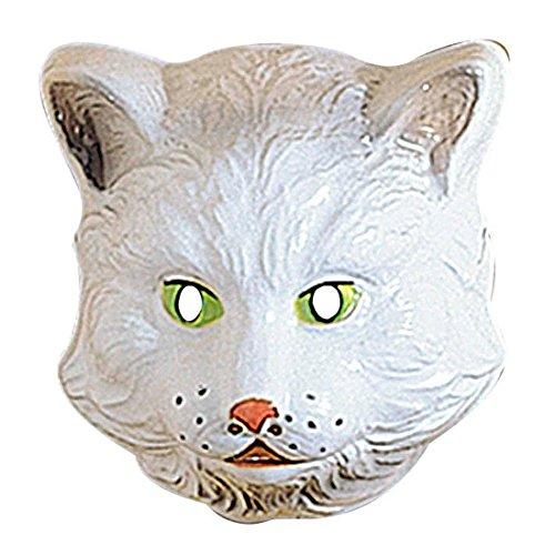 Kinder Katzen Maske Polarfuchs Kindermaske Tiermaske Hartplastik Weiße Katze Tiermaske Cat Faschingsmaske Katzenmaske Zoo Kostüm Zubehör