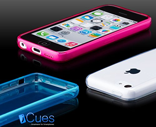 iCues Apple iPhone 5C |  Transparent TPU Case Klar | [Display Schutzfolie Inklusive] Transparent Klarsichthülle Durchsichtig Klare Klarsicht Silikon Gel Schutzhülle Hülle Cover Schutz Light Blue