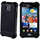 32nd® Shock Proof Dual Defender Case Cover for Samsung Galaxy S2 Sii i9100, including screen protector, cleaning cloth and touch stylus - Black