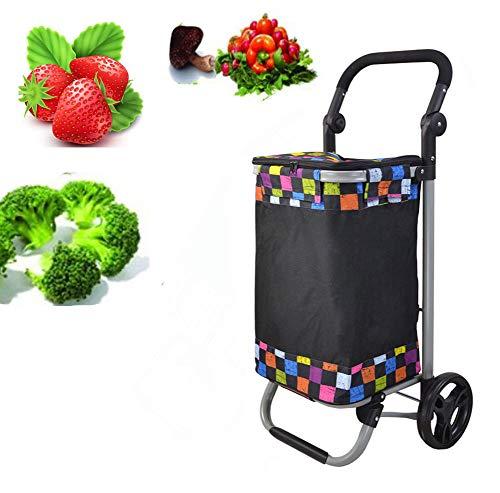 AYT Einkaufstrolley Klappbar in 35L mit Seitentaschen - Einkaufswagen mit Wasserabweisender & Abnehmbarer Tasche mit Großen Rädern bis 50kg Belastbar inkl,B -