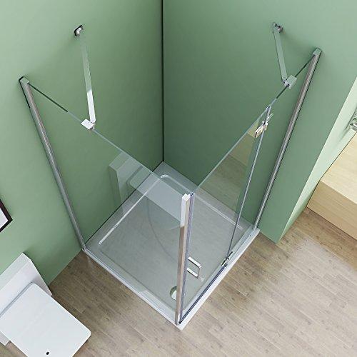 100 x 75 x 195 cm Duschkabine Eckeinstieg Dusche Falttür Duschwand mit Seitenwand NANO
