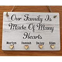 Family Plaque Home Sweet Home Personalised New House Warming Sign Wooden Gift 'our family is made of many hearts' Hearts quote name D5