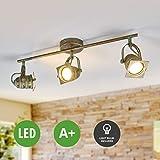 Lampenwelt LED Deckenleuchte (Retro, Vintage, Antik) in Bronze aus Metall u.a. für Wohnzimmer & Esszimmer (3 flammig, GU10, A+, inkl. Leuchtmittel)   Lampe, LED-Deckenlampe, Deckenlampe, Wohnzimmerlampe