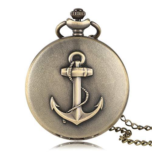 DYH&PW Taschenuhr Bronze Anker Design Piraten Thema Quarz Taschenuhr Volle Hunter Römische Zahl Halskette Mode Kausalen Kupfer Männer Geschenk Für Kinder