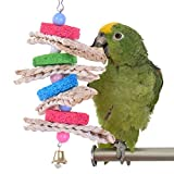 Pet Parrot Chew Toy Colorful Loofah Straw Toy for Bird Macaw African Greys Eclectus Budgies Parakeet Cockatoo Cockatiel Conure Lovebirds Canaries Cage Bells Toy