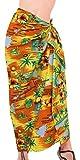 La Leela likre Palme Pareo Kleid Blume hawaiische Plus Vertuschungsarong Orange