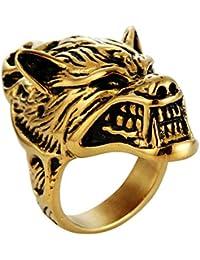 Blisfille Joyería Anillo Acero Gotico Anillos de Acero Inoxidable Hombre Anillo de Cabeza de Lobo Animal