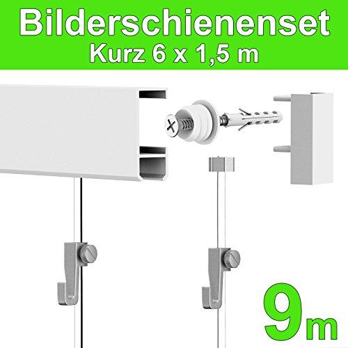 Bilderschiene Galerieschiene Komplett-Set 9m (6x1