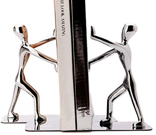 Tebery Serre-livres en Acier Inoxydable ,Pour Supporter Des Livres Grands et Lourds Ou Pour Décoration de Bibliothèque de Bureau à Domicile, Argent