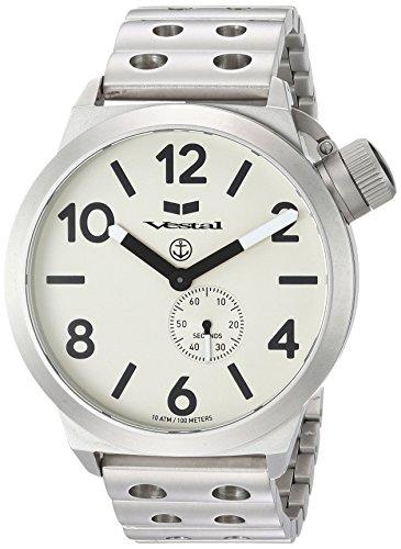 Vestal 'Canteen Metal' Quartz Stainless Steel Casual Watch, Color:Silver-Toned (Model: CNT453M05.DSVM)