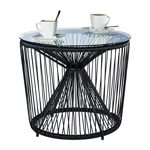 Relaxdays Table basse fil cordes ronde plateau verre appoint design RAYA balcon salon moderne HxD: 46 x 55 cm, noir