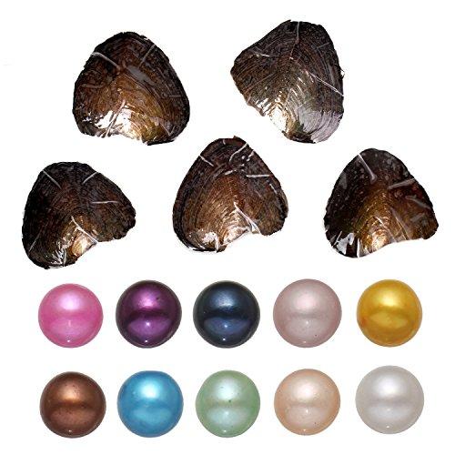 Kiss Me - Ostrica con perla d'acqua dolce in diversi colori, 7 - 8 mm, confezione da 10