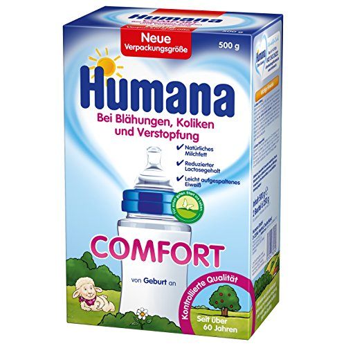 Humana Comfort bei Blähungen, Verstopfung und Drei-Monats-Koliken, 1er Pack (1 x 500 g) (Verdauliches Eiweiß)
