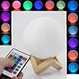Moon Lamp 3D Printed Remote Control Night Light 16 RGB Colours Changing Dimmable LED Mood Light USB Rechargeable Moonlight 12cm/4.7 inch With Wood Stand (12cm)