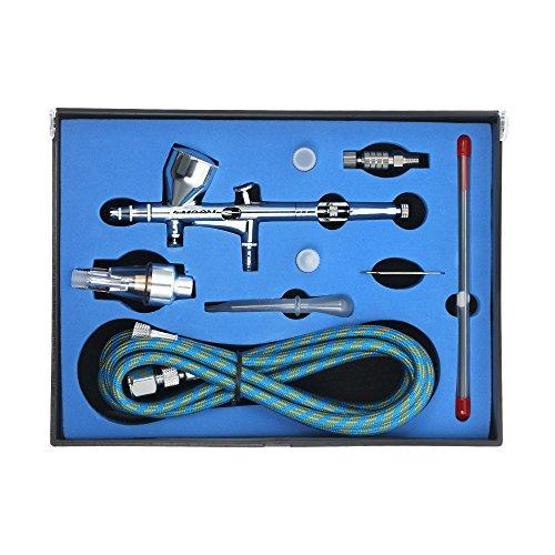 Kkmoon professionale kit di alimentazione a gravità a doppia azione per aerografo con tubo flessibile da 1,8m 0,2mm / 0,3mm / 0,5mm ago 9cc spazzola a tazza per pittura artistica vernice
