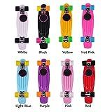 Prom-near 22 Zoll Mini Cruiser Skateboard Komplett Board Cruiser-Board 57 x 15cm für Kinder, Jugendliche und Erwachsene mit ABEC-7 Kugellager, 8 Farben Wählbar (Weiß)