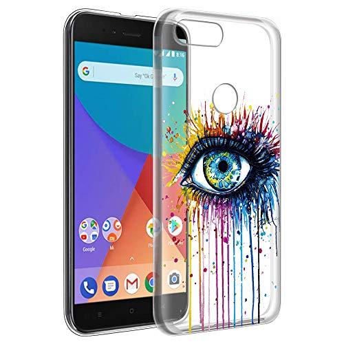 Eouine Funda Xiaomi A1, Cárcasa Ultrafina Silicona 3D Transparente con Dibujos Impresión Patrón [Antigolpes] Suave Gel TPU Housse Bumper Case Cover Fundas para Movil Xiaomi Mi A1 / Xiaomi Mi 5X (Ojo)