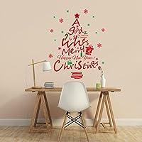 GYMNLJY Adesivi murali Nuovo anno vetrina decorazione Natale parete Sticker Red Christmas tree Decalcomanie da muro rimovibile in PVC ,