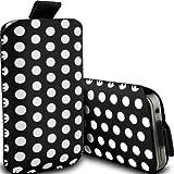 i-Tronixs (Black) Samsung Galaxy S5 LTE Premium Stylish Faux Leder Polka Dot Lasche Tasche Skin Case Cover