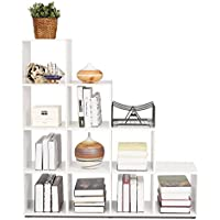 HOMFA Estantería decorativa Librería de 4 niveles 10 cajas Armario modular carga de 30Kg 105*104.5*29cm MDF