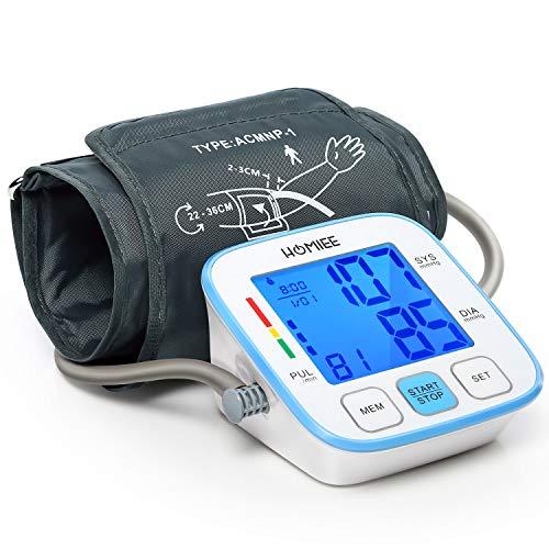 HOMIEE Misuratore Pressione Sanguigna da Braccio, Sfigmomanometro Elettronico da Braccio, Misurare Pressione Arteriosa e frequenza cardiaca per 2 Utent