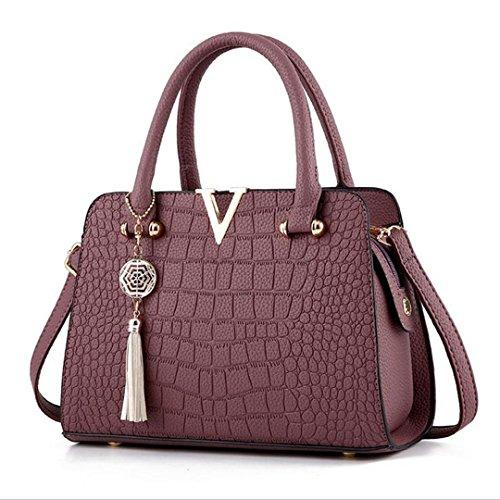 Krokodil Leder Damen Tasche V Brief Design Handtasche Quaste Messenger Bag