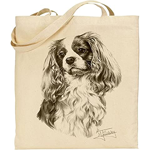 Mike Sibley Cavalier King Charles Spaniel Cotton Natural Bag by C & S Products