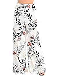 WOMENS LADIES SUMMER FLORAL TROPICAL LEAF PRINT PALAZZO TROUSERS PLUS SIZE 8-22