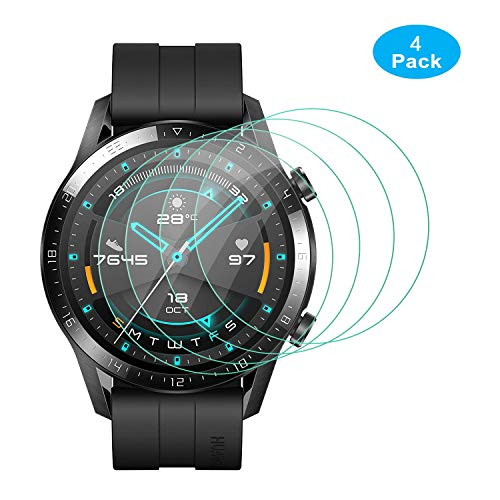 ELYCO [4 Pièces] pour Huawei Watch GT 2 46mm Verre Trempé, [sans Bulles ] [Anti-Rayures] HD Verre Trempé Protecteur d'écran pour Huawei Watch GT 2 Film Protection Écran