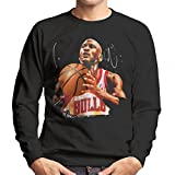 Sidney Maurer Original Portrait of Michael Jordan Bulls White Jersey Men's Sweatshirt