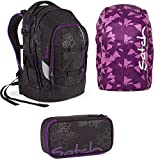 Satch by Ergobag Purple Hibiscus Pack 3er Set Schulrucksack + Schlamperbox + Regenhaube Lila